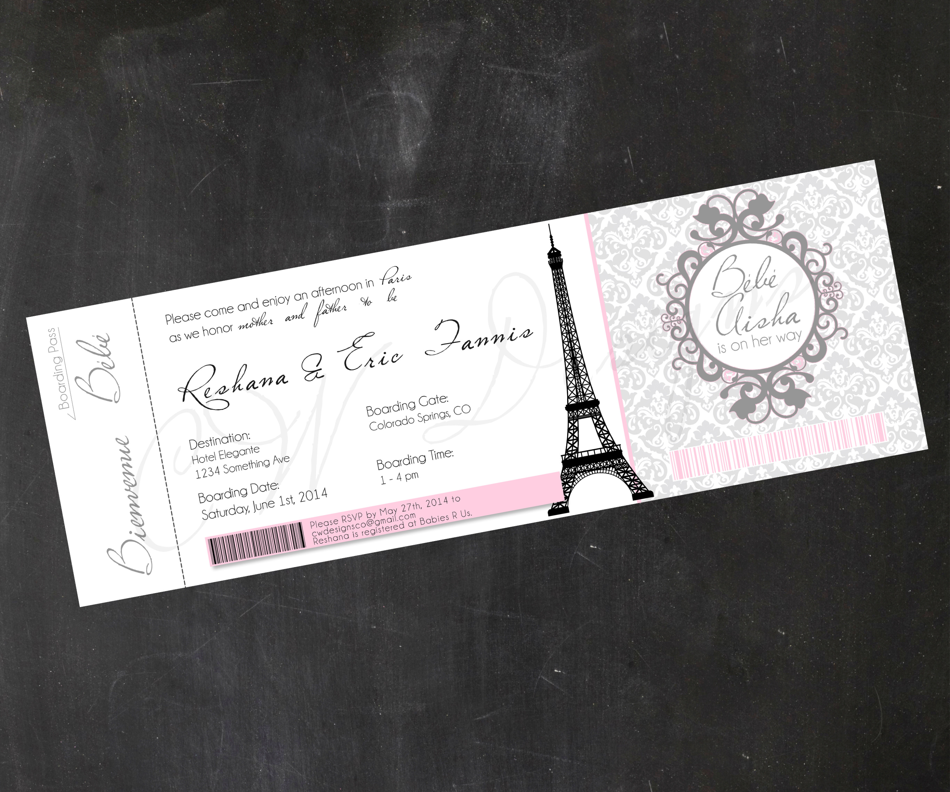 Paris-Inspired Boarding Pass/Ticket Invitations - DIGITAL/DIY/PRINTABLE